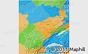 Political 3D Map of Franche-Comté