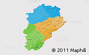 Political 3D Map of Franche-Comté, single color outside