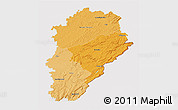 Political Shades 3D Map of Franche-Comté, cropped outside