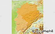 Political Shades 3D Map of Franche-Comté, physical outside