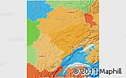 Political Shades 3D Map of Franche-Comté