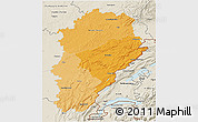 Political Shades 3D Map of Franche-Comté, shaded relief outside