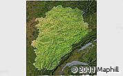 Satellite 3D Map of Franche-Comté, darken