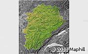 Satellite 3D Map of Franche-Comté, desaturated