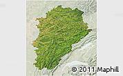 Satellite 3D Map of Franche-Comté, lighten