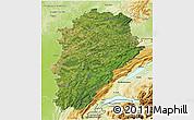 Satellite 3D Map of Franche-Comté, physical outside