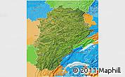 Satellite 3D Map of Franche-Comté, political outside