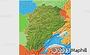 Satellite 3D Map of Franche-Comté, political shades outside