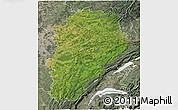 Satellite 3D Map of Franche-Comté, semi-desaturated