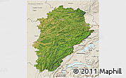 Satellite 3D Map of Franche-Comté, shaded relief outside