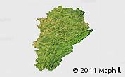 Satellite 3D Map of Franche-Comté, single color outside