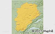 Savanna Style 3D Map of Franche-Comté