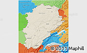 Shaded Relief 3D Map of Franche-Comté, political shades outside