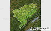 Satellite Map of Doubs, darken