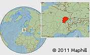 Savanna Style Location Map of Franche-Comté, hill shading