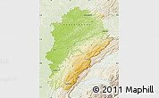 Physical Map of Franche-Comté, lighten