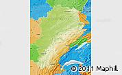 Physical Map of Franche-Comté, political outside