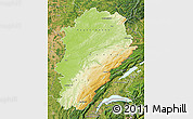 Physical Map of Franche-Comté, satellite outside