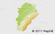 Physical Map of Franche-Comté, single color outside