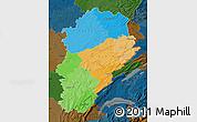 Political Map of Franche-Comté, darken