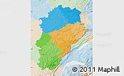 Political Map of Franche-Comté, lighten