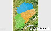 Political Map of Franche-Comté, satellite outside