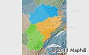 Political Map of Franche-Comté, semi-desaturated
