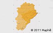 Political Shades Map of Franche-Comté, cropped outside
