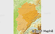 Political Shades Map of Franche-Comté, physical outside