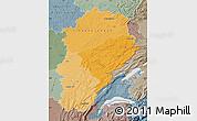 Political Shades Map of Franche-Comté, semi-desaturated