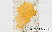 Political Shades Map of Franche-Comté, shaded relief outside