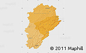 Political Shades Map of Franche-Comté, single color outside