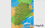 Satellite Map of Franche-Comté, political outside