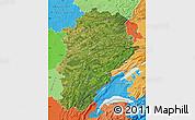 Satellite Map of Franche-Comté, political shades outside