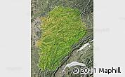 Satellite Map of Franche-Comté, semi-desaturated