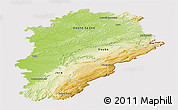Physical Panoramic Map of Franche-Comté, cropped outside