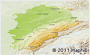 Physical Panoramic Map of Franche-Comté, lighten
