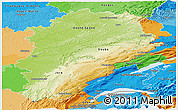 Physical Panoramic Map of Franche-Comté, political outside