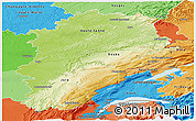 Physical Panoramic Map of Franche-Comté, political shades outside