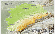Physical Panoramic Map of Franche-Comté, semi-desaturated