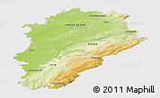 Physical Panoramic Map of Franche-Comté, single color outside