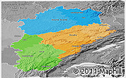 Political Panoramic Map of Franche-Comté, desaturated