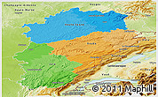 Political Panoramic Map of Franche-Comté, physical outside