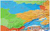 Political Panoramic Map of Franche-Comté, political shades outside