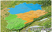 Political Panoramic Map of Franche-Comté, satellite outside