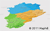 Political Panoramic Map of Franche-Comté, single color outside