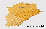 Political Shades Panoramic Map of Franche-Comté, cropped outside