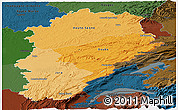 Political Shades Panoramic Map of Franche-Comté, darken