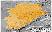 Political Shades Panoramic Map of Franche-Comté, desaturated