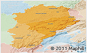 Political Shades Panoramic Map of Franche-Comté, lighten
